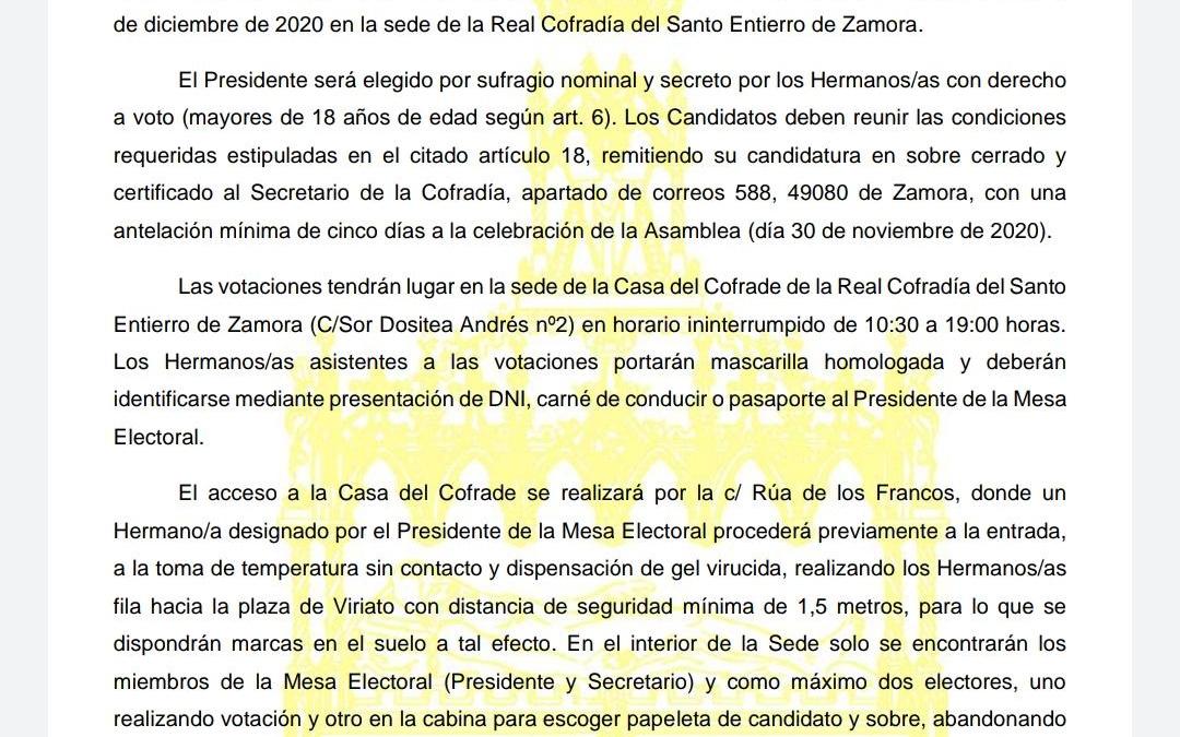 Aplazamiento Elecciones Del Santo Entierro