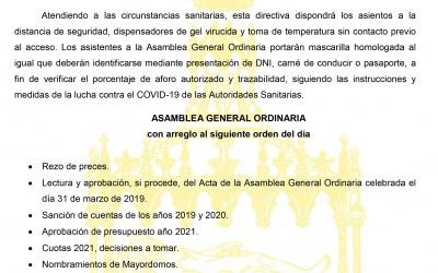 Convocatoria Asamblea General Ordinaria 2021