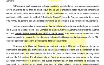 CONVOCATORIA DE ELECCIÓN A PRESIDENTE 2021